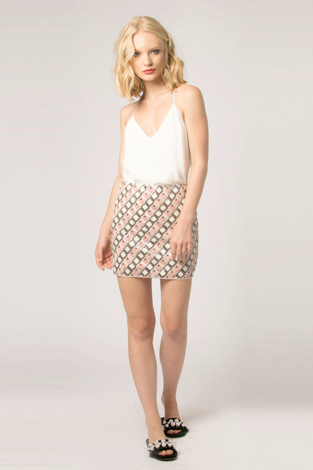 Pink Mesh Jacquard Mini Skirt by Lavender Brown 001