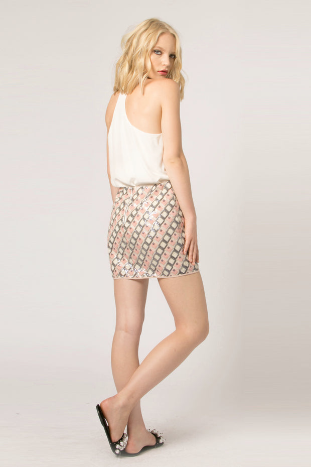 Pink Mesh Jacquard Mini Skirt by Lavender Brown 002