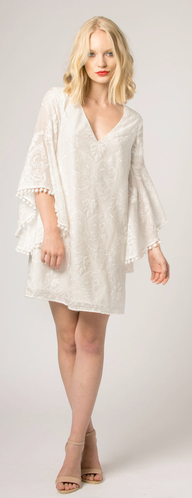 Ivory Bell Sleeve Embroidered Swing Dress by Lavender Brown 001
