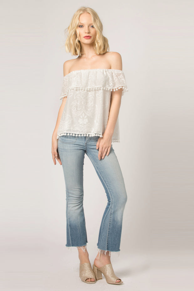 Ivory Embroidered Off The Shoulder Blouse by Lavender Brown 001