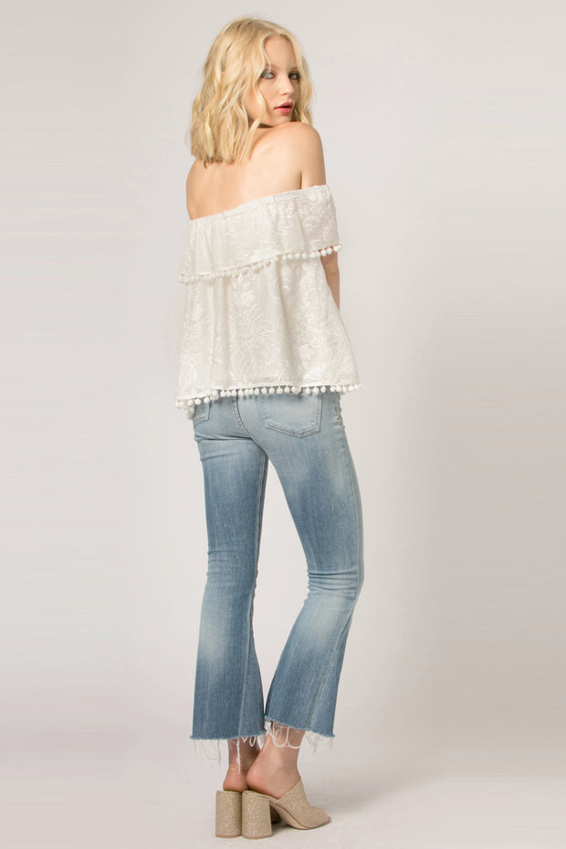 Ivory Embroidered Off The Shoulder Blouse by Lavender Brown 002