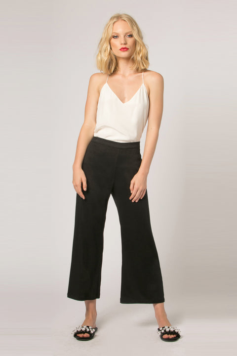 Black Magic Fabric Wide Leg Crop Pants by Lavender Brown 001