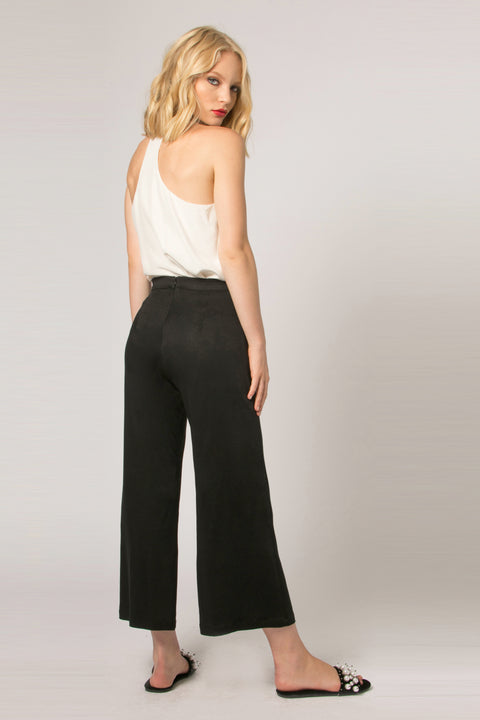 Black Magic Fabric Wide Leg Crop Pants by Lavender Brown 002