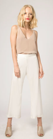 Ivory Wide Leg Crop Pants by Lavender Brown - 1