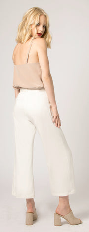 Ivory Wide Leg Crop Pants by Lavender Brown - 2
