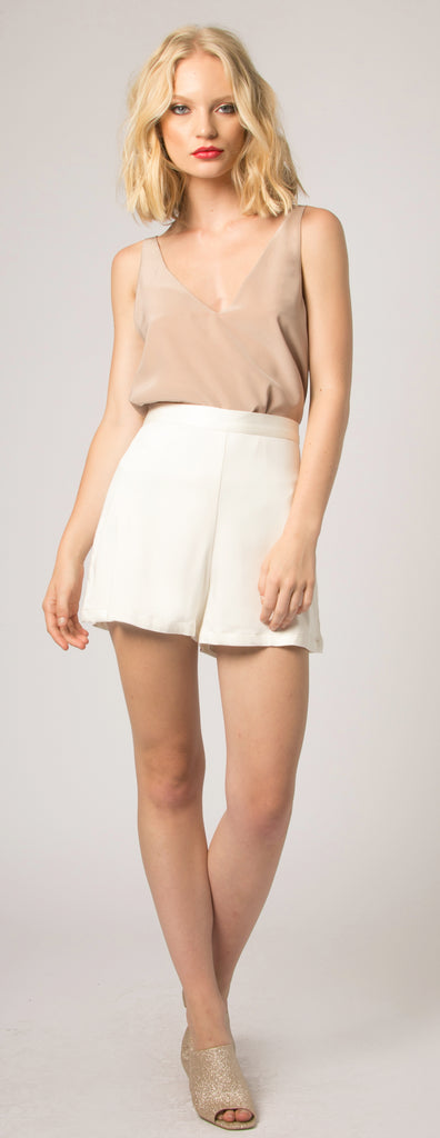 Ivory Mid Rise Shorts by Lavender Brown - 1
