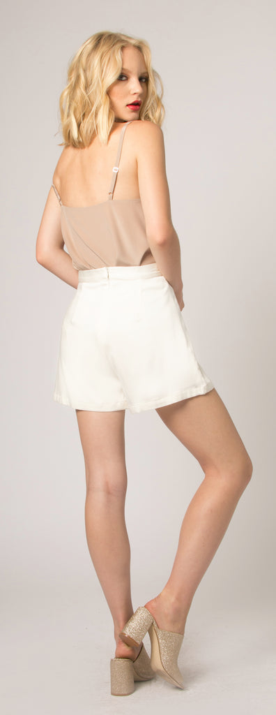 Ivory Mid Rise Shorts by Lavender Brown - 2