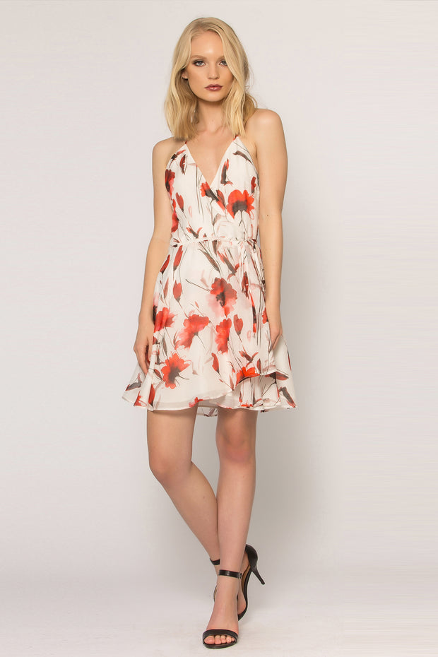 Ivory Floral Silk Blend A-Line Dress by Lavender Brown 001
