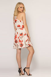 Ivory Floral Silk Blend A-Line Dress by Lavender Brown 002