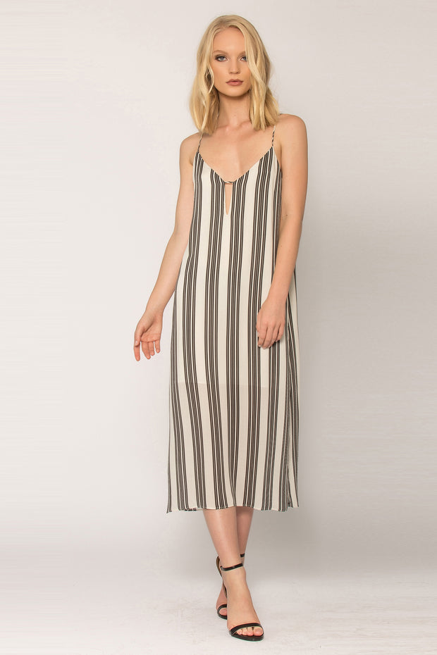 Black Striped Open Back Tank Dress by Lavender Brown 001