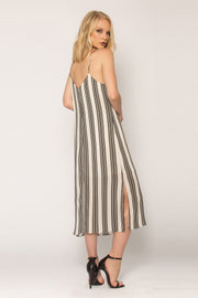 Black Striped Open Back Tank Dress by Lavender Brown 002
