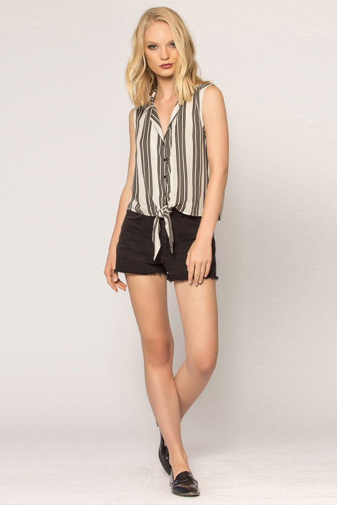 Black Striped Button Down Tank Top