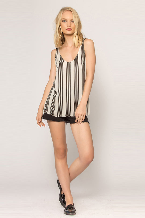 Black Striped Jersey Tank Top by Lavender Brown 001