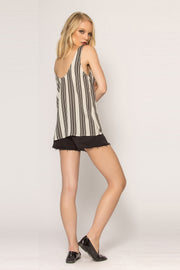 Black Striped Jersey Tank Top by Lavender Brown 002