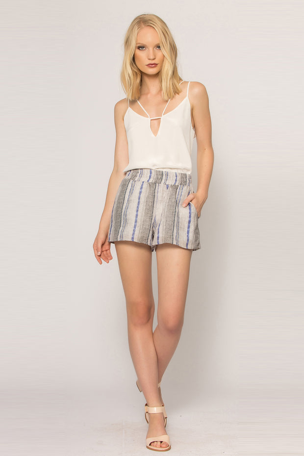 Khaki Striped Pull-On Linen Shorts by Lavender Brown 001