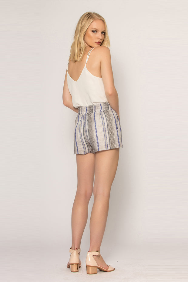 Khaki Striped Pull-On Linen Shorts by Lavender Brown 002