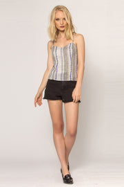 Khaki Backless Striped Linen Cami Tank Top 001