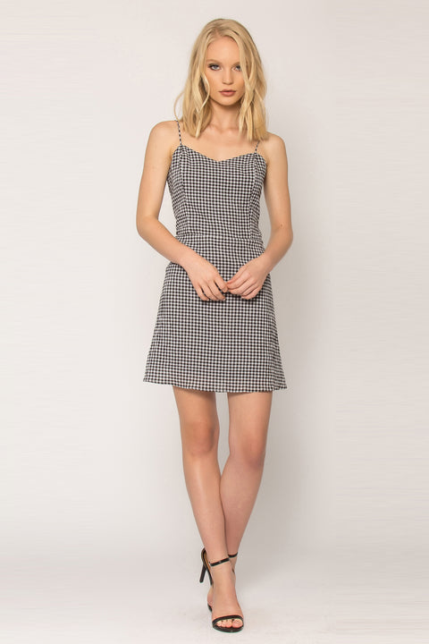 Black Gingham Empire Waist Dress by Lavender Brown 001