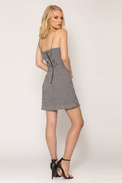 Black Gingham Empire Waist Dress by Lavender Brown 002
