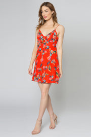Red Racerback Floral Shift Dress by Lavender Brown 001