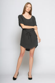 Black Short Sleeve Tunic Dress With Tie Waist 001