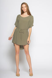 Olive Short Sleeve Tunic Dress With Tie Waist by Lavender Brown 001