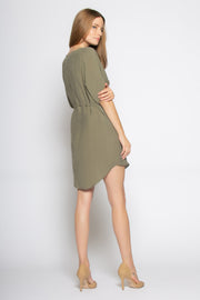 Olive Short Sleeve Tunic Dress With Tie Waist by Lavender Brown 002