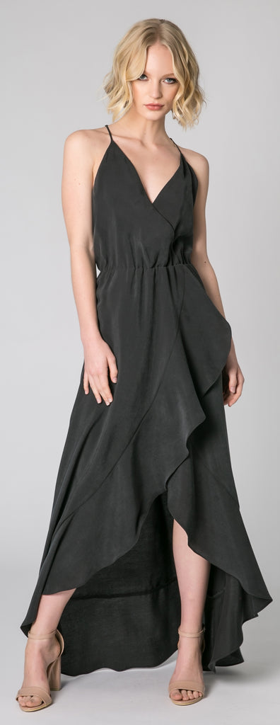 Black Racerback Wrap Maxi Dress by Lavender Brown - 1