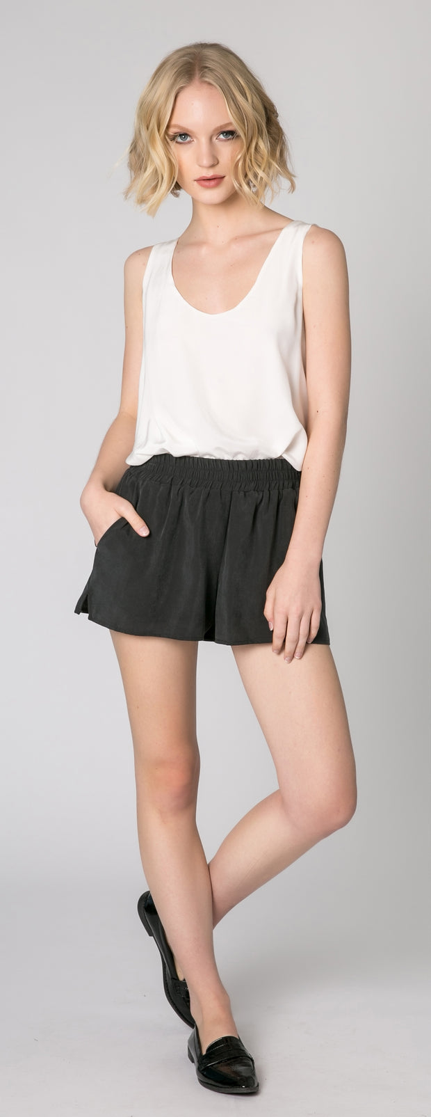 Black Easy Pull-On Shorts by Lavender Brown - 1
