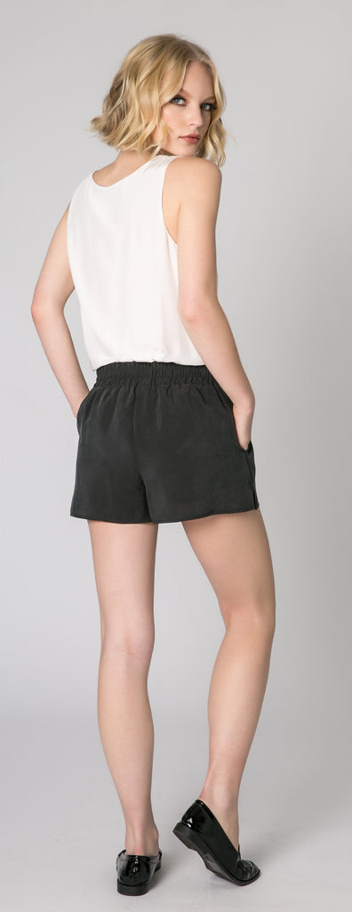 Black Easy Pull-On Shorts by Lavender Brown - 2