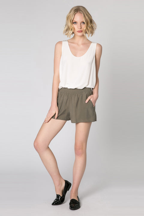 Olive Easy Pull-On Shorts by Lavender Brown 001