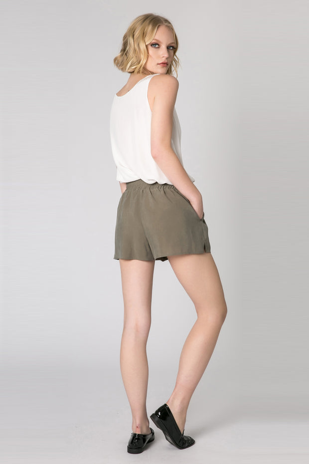Olive Easy Pull-On Shorts by Lavender Brown 002