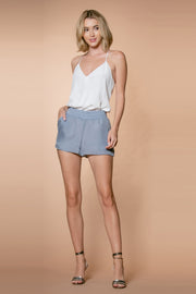 Dusty Periwinkle Cupro Pull-On Shorts by Lavender Brown 001