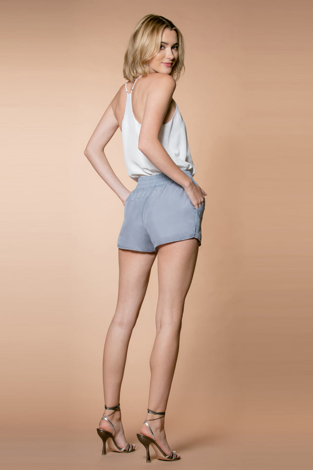 Dusty Periwinkle Cupro Pull-On Shorts by Lavender Brown 002