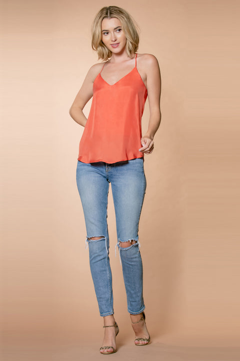Mango Cupro Racerback Cami Tank Top by Lavender Brown 001