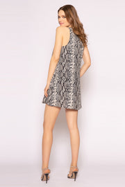 Black Sleeveless Snakeskin Mini Dress by Lavender Brown 002