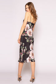 Black Floral Midi Slip Dress by Lavender Brown 002
