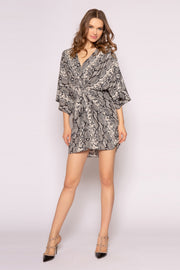 Black Elbow Sleeve Snakeskin Mini Dress by Lavender Brown 001