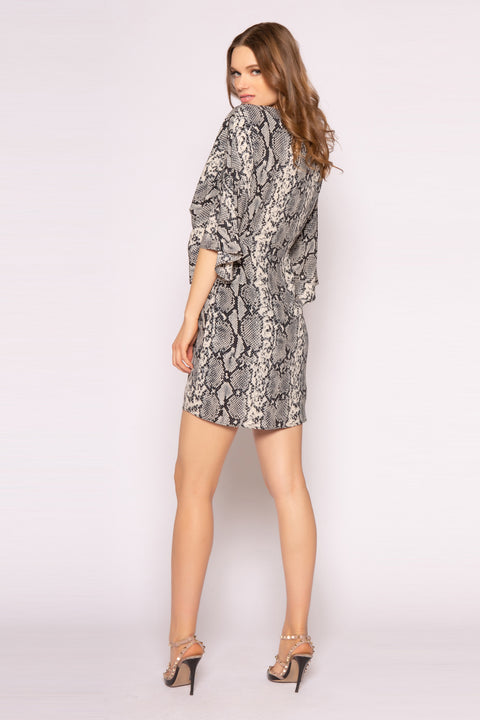 Black Elbow Sleeve Snakeskin Mini Dress by Lavender Brown 002