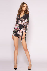 Black Long Sleeve Floral Romper by Lavender Brown 001