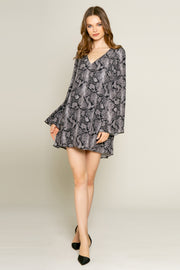 Black Snakeskin Print Long Sleeve Mini Dress by Lavender Brown 002