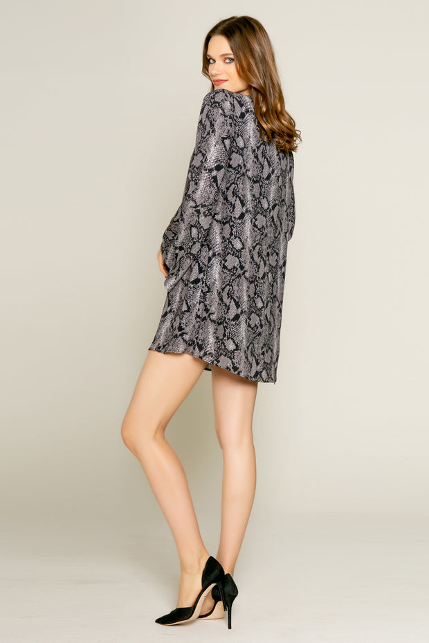 Black Snakeskin Print Long Sleeve Mini Dress by Lavender Brown 001