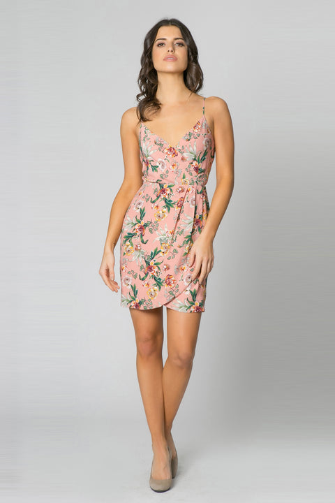 Pink Backless Floral Wrap Tank Dress by Lavender Brown 001