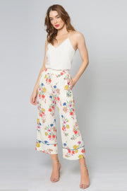 Vanilla High Waist Floral Pull-On Wide Leg Pants by Lavender Brown 001