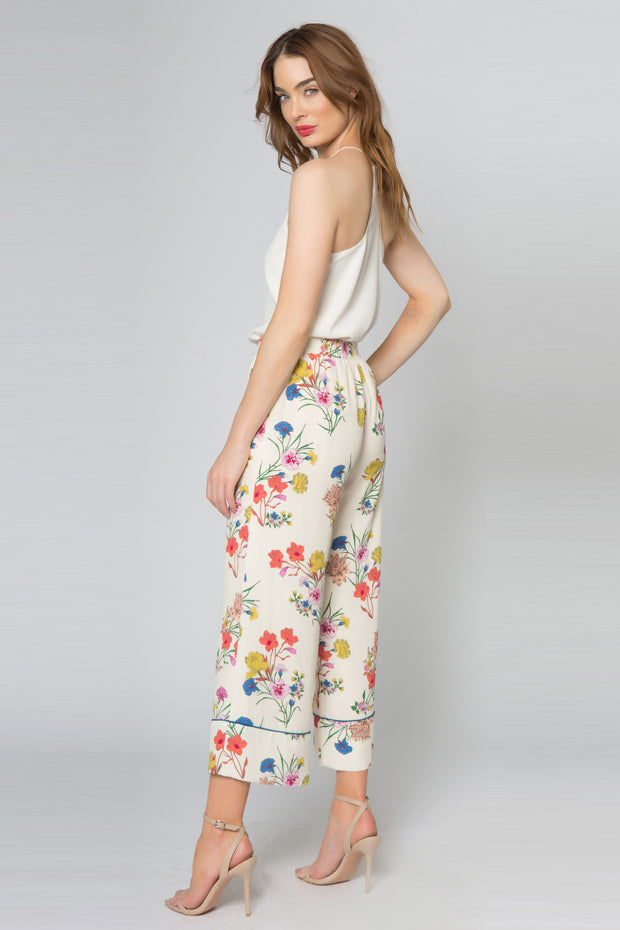Vanilla High Waist Floral Pull-On Wide Leg Pants by Lavender Brown 002