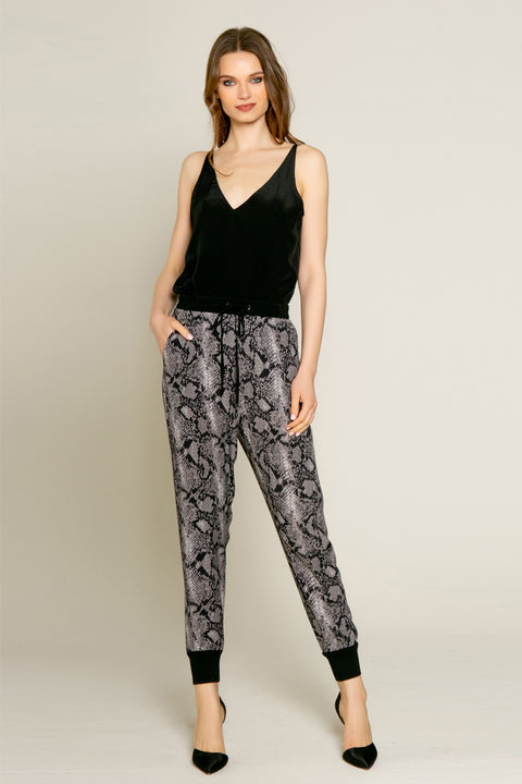 Black Snakeskin Print Skinny Pants by Lavender Brown 002