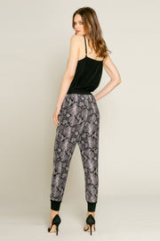 Black Snakeskin Print Skinny Pants by Lavender Brown 001