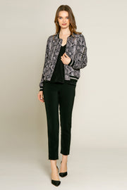 Black Snakeskin Blouson Jacket by Lavender Brown 001