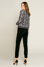 Black Snakeskin Blouson Jacket by Lavender Brown 002
