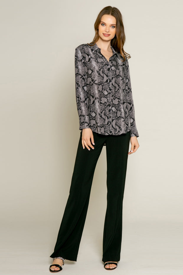 Black Snakeskin Print Button Down Shirt by Lavender Brown 001